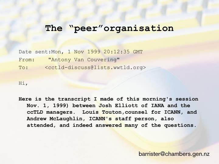 """The """"peer""""organisation"""