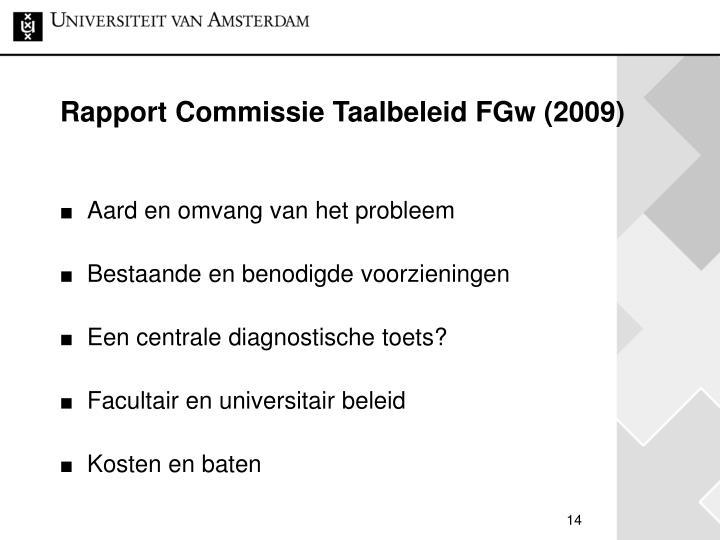 Rapport Commissie Taalbeleid FGw (2009)