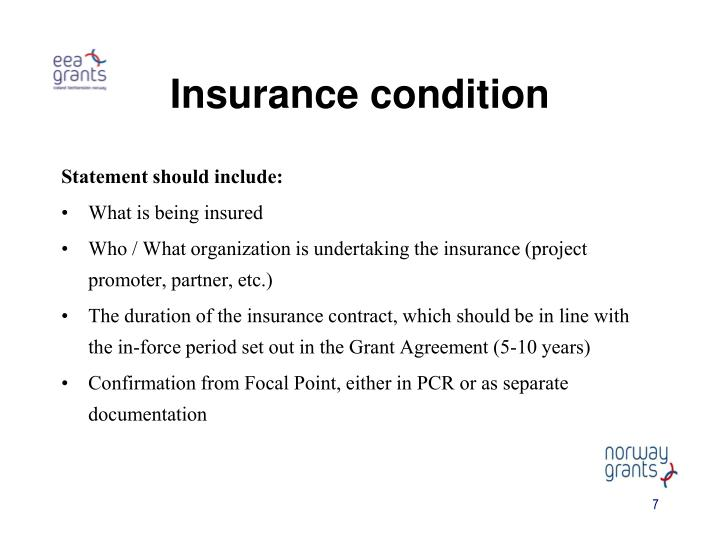 Insurance condition