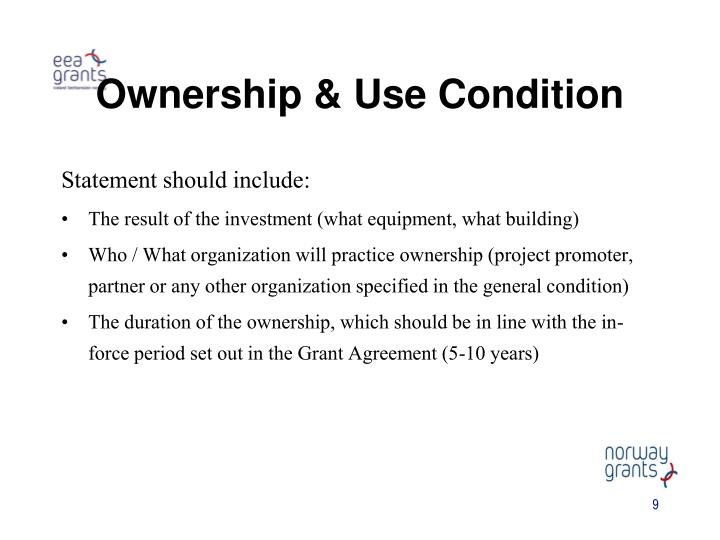 Ownership & Use Condition