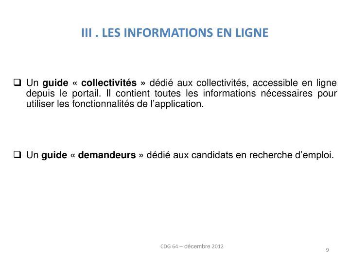 III . LES INFORMATIONS EN LIGNE