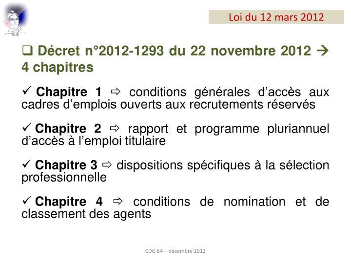 Décret n°2012-1293 du 22 novembre 2012