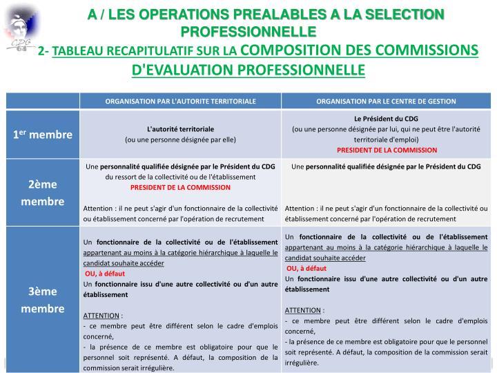 A / LES OPERATIONS PREALABLES A LA SELECTION PROFESSIONNELLE