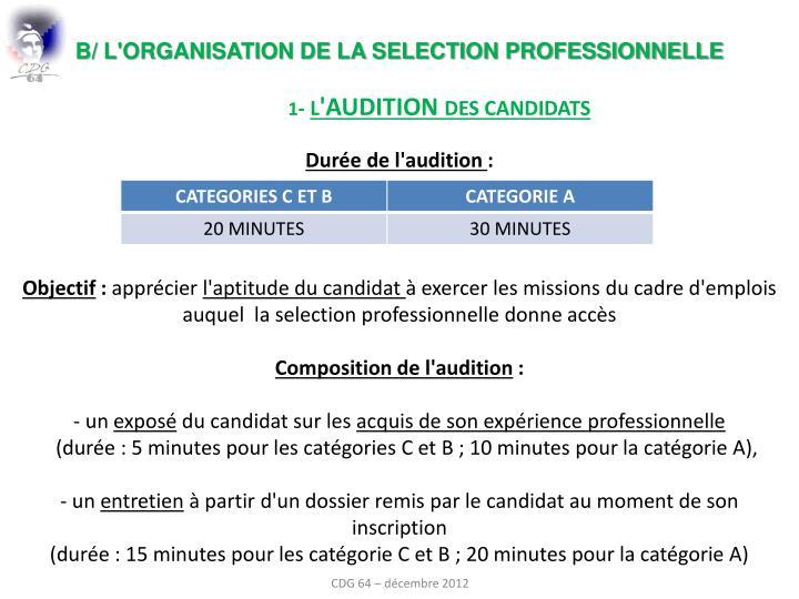 b/ l'organisation de la selection professionnelle