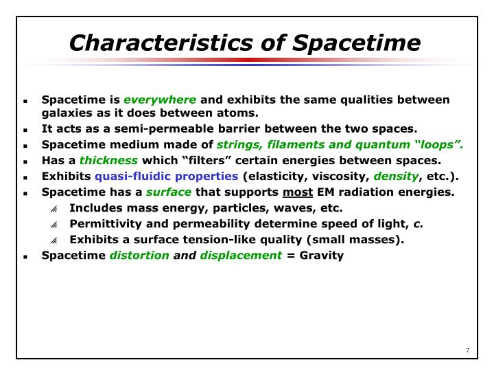 Characteristics of Spacetime