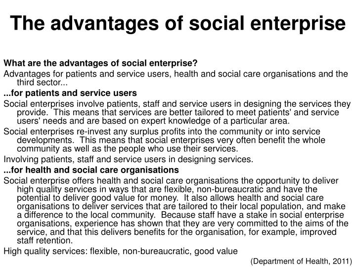 The advantages of social enterprise