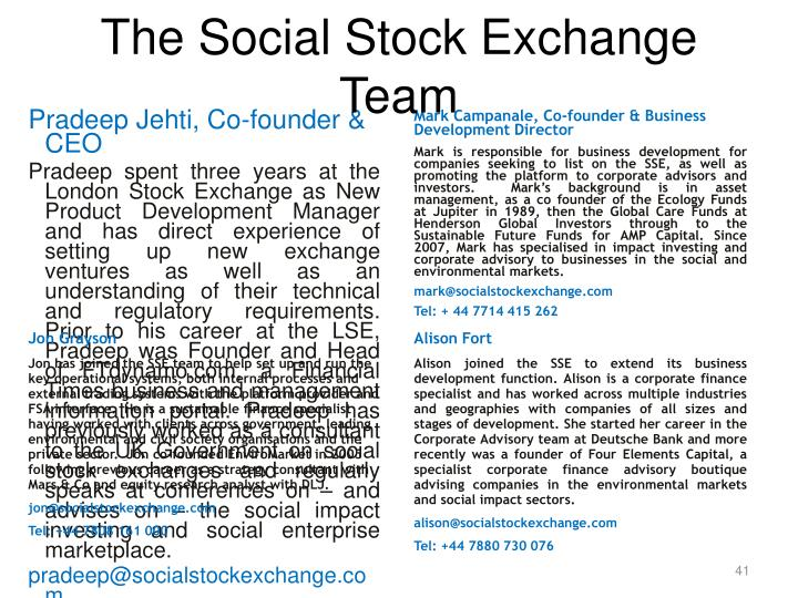 The Social Stock Exchange Team