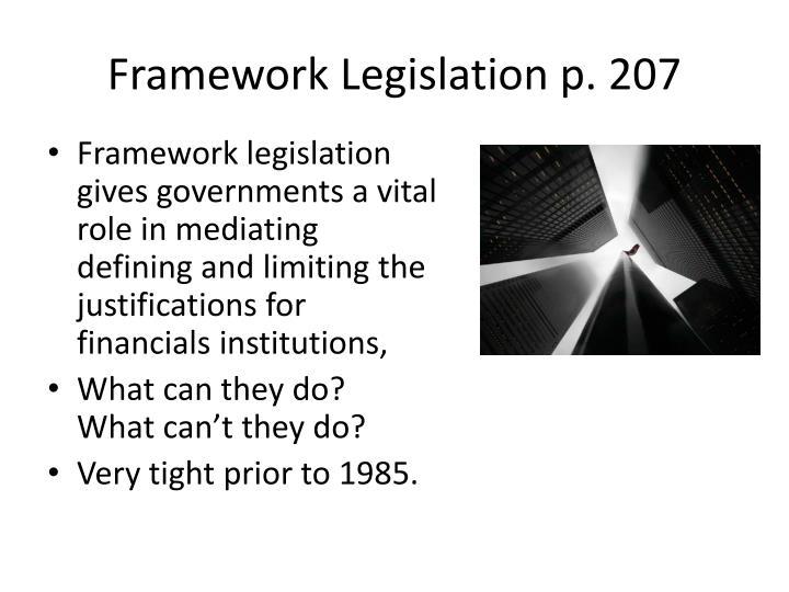 Framework Legislation p. 207