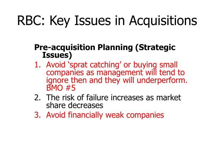 RBC: Key Issues in Acquisitions