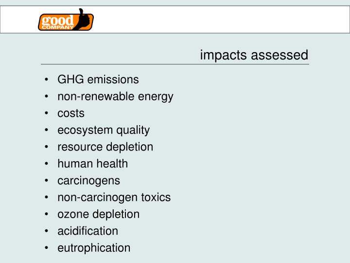 impacts assessed