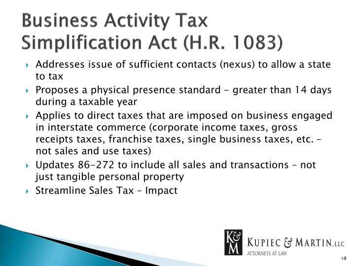 Business Activity Tax Simplification Act (H.R. 1083)