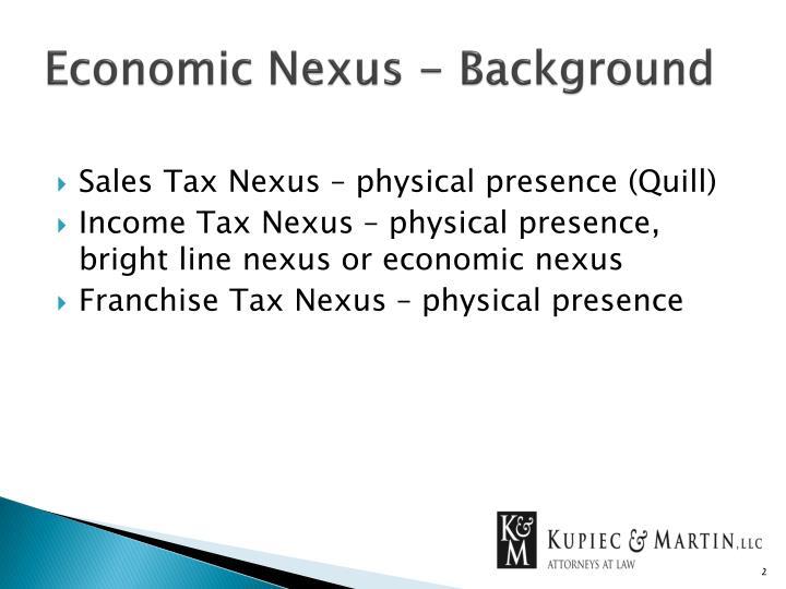 Economic Nexus - Background