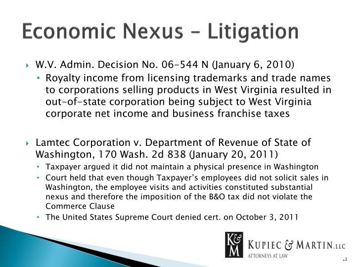Economic Nexus – Litigation