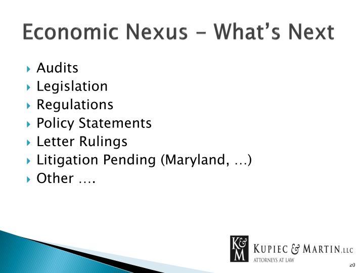 Economic Nexus - What's Next