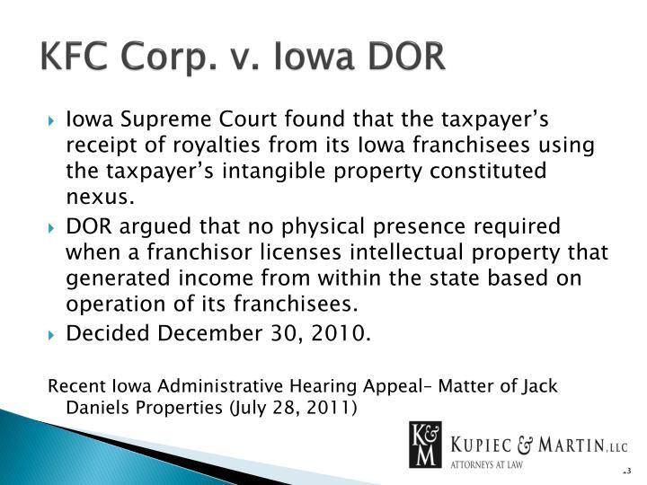 KFC Corp. v. Iowa DOR