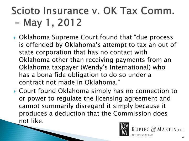 Scioto Insurance v. OK Tax Comm.