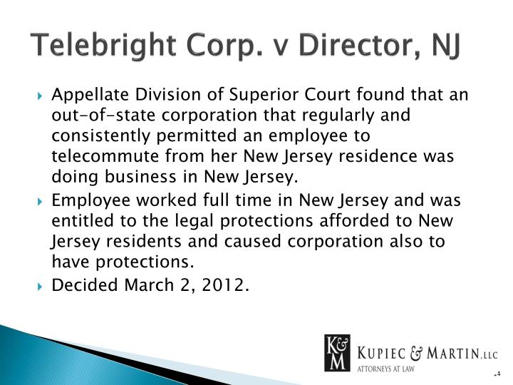 Telebright Corp. v Director, NJ