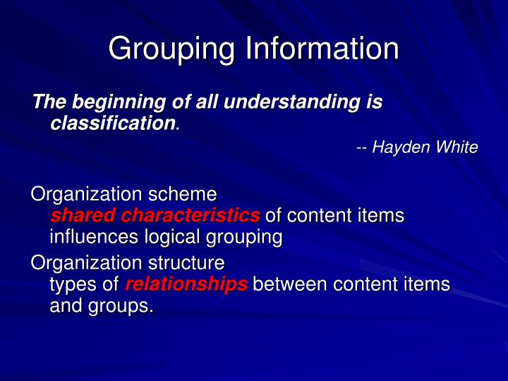 Grouping Information