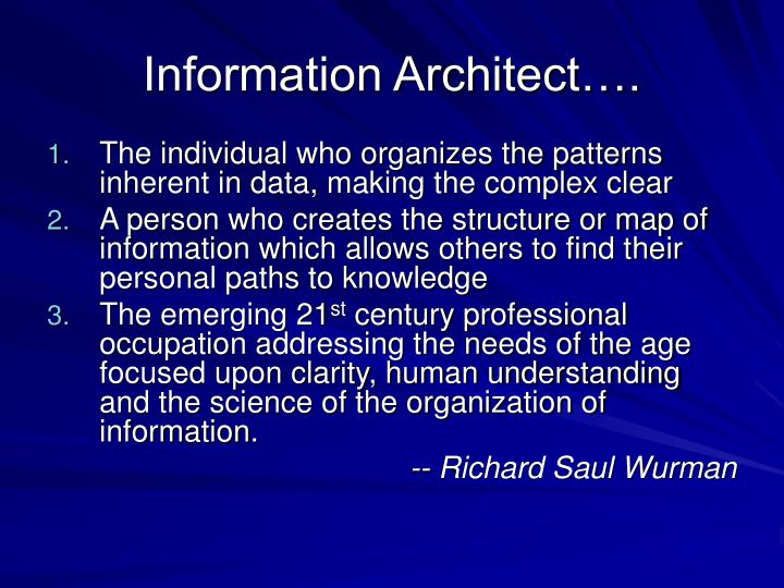 Information Architect….