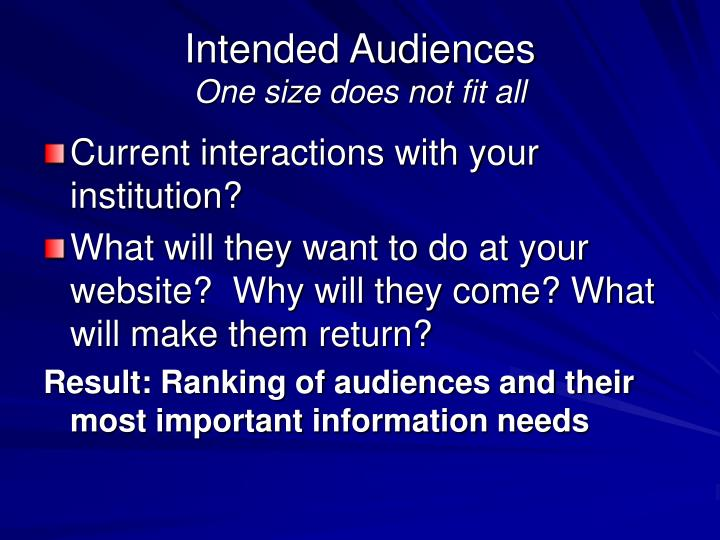 Intended Audiences