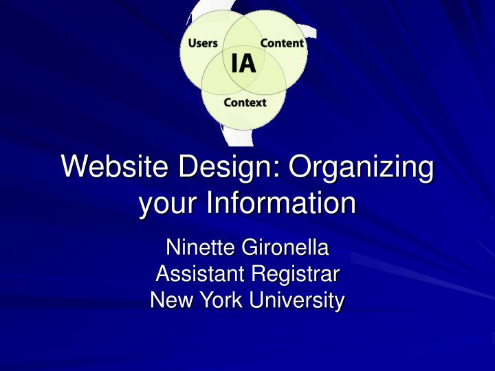 Website design organizing your information