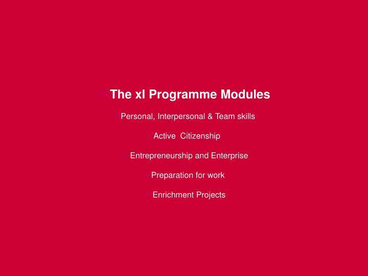 The xl Programme Modules