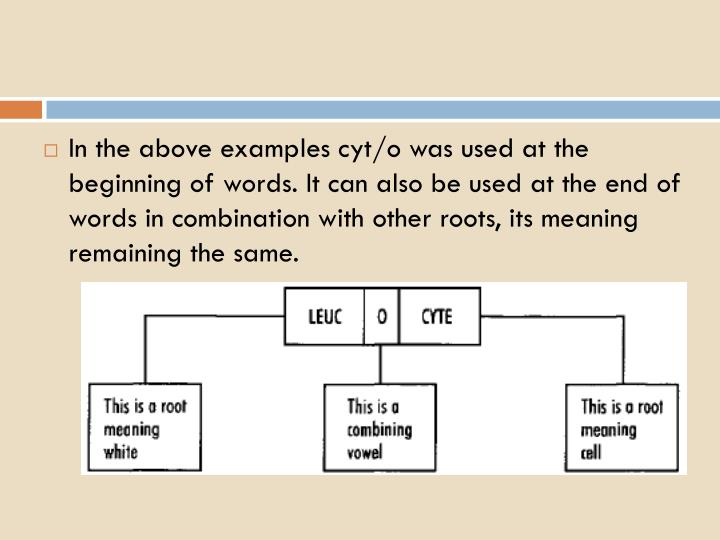 In the above examples cyt/o was used at the beginning of words. It can also be used at the end of words in combination with other roots, its meaning remaining the same.