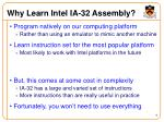 why learn intel ia 32 assembly