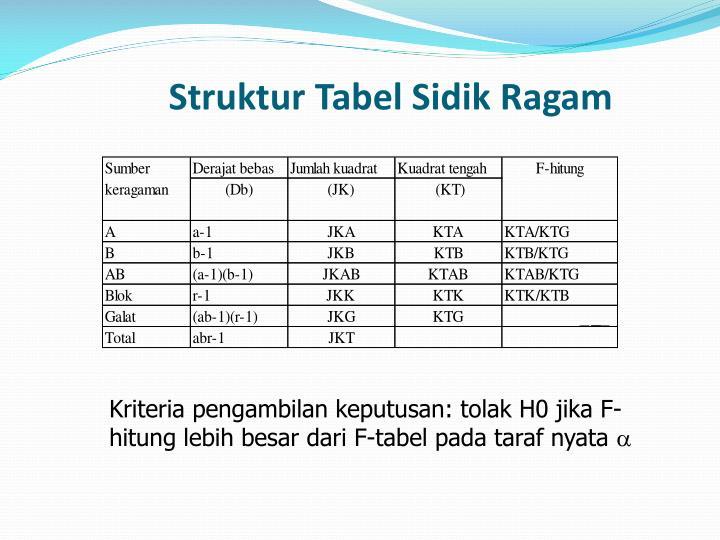 Struktur Tabel Sidik Ragam