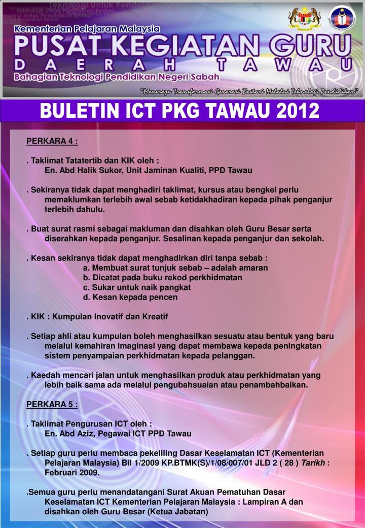 BULETIN ICT PKG TAWAU 2012