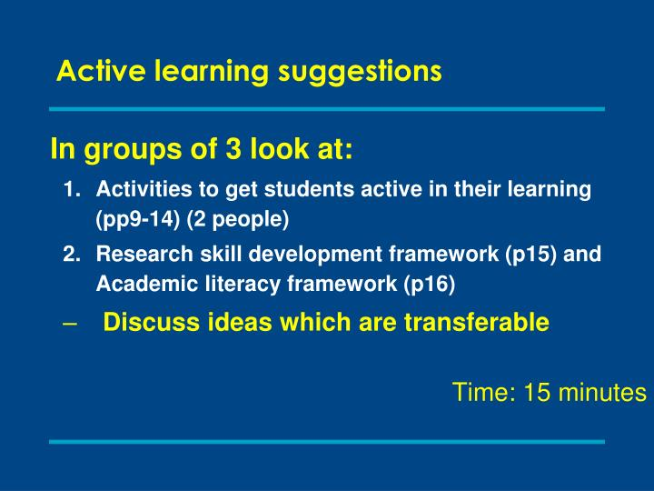 Active learning suggestions