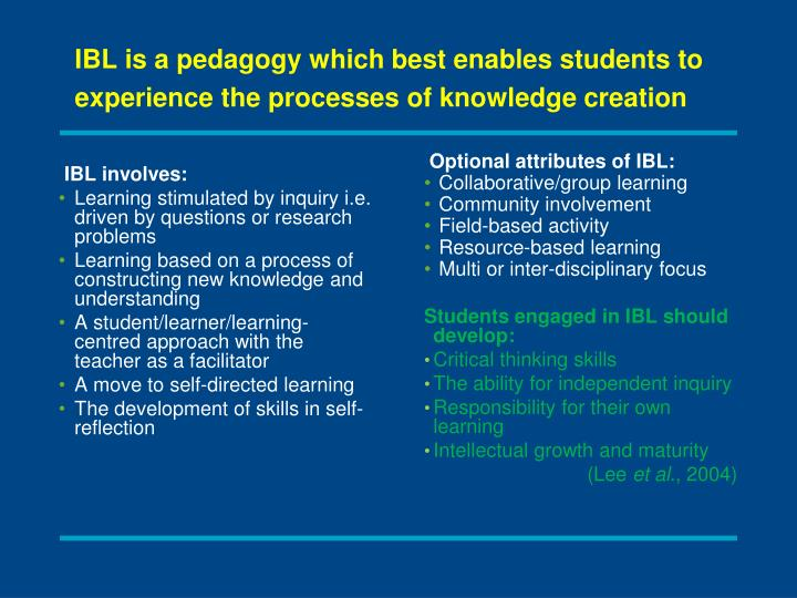 IBL is a pedagogy which best enables students to