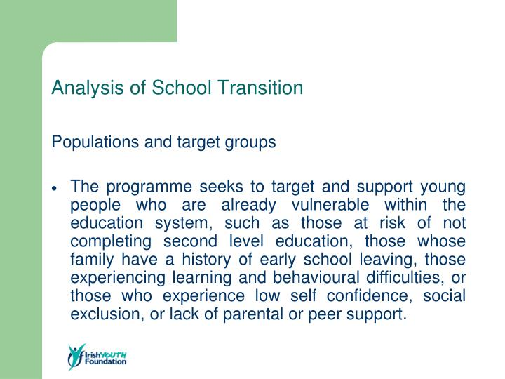 Analysis of School Transition