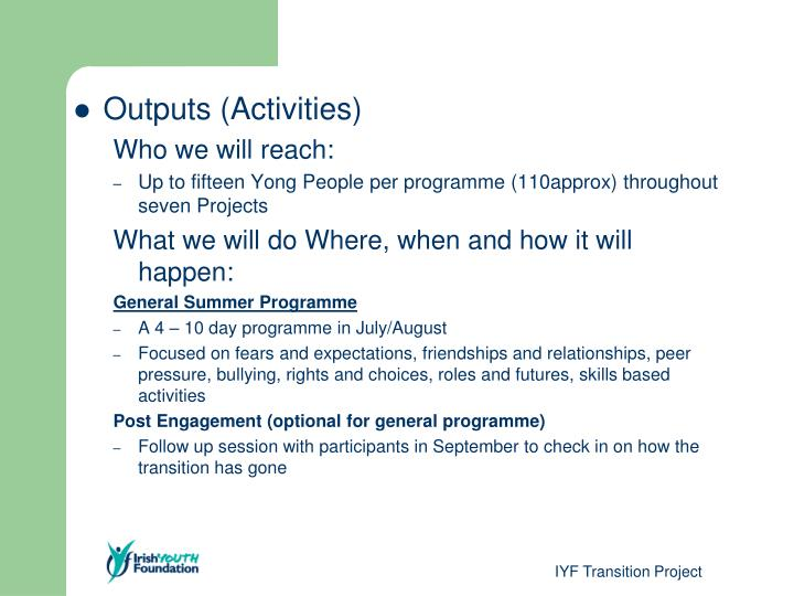 Outputs (Activities)