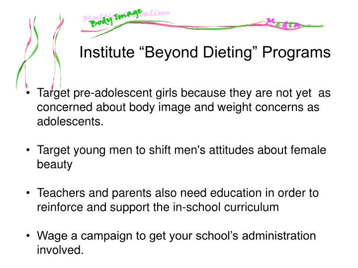 """Institute """"Beyond Dieting"""" Programs"""