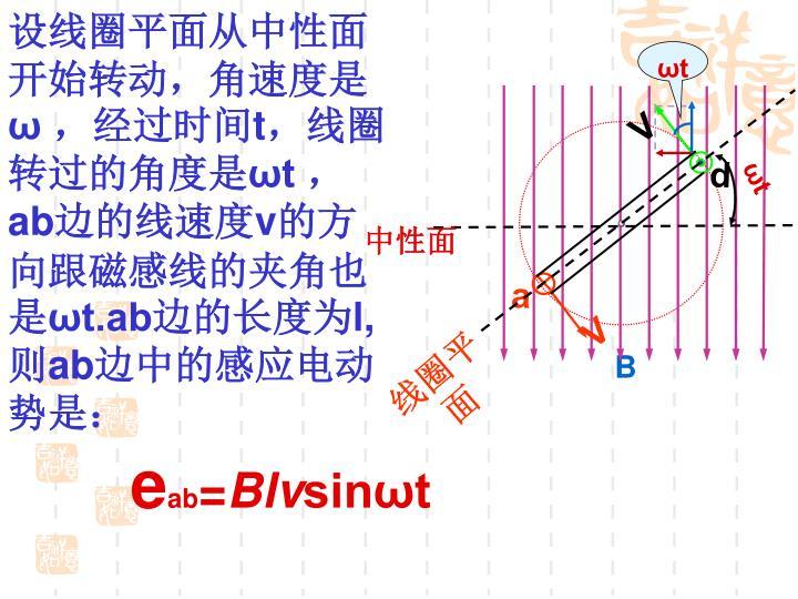 设线圈平面从中性面开始转动,角速度是