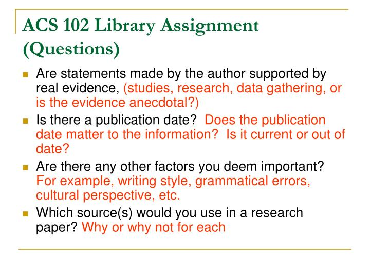 ACS 102 Library Assignment (Questions)