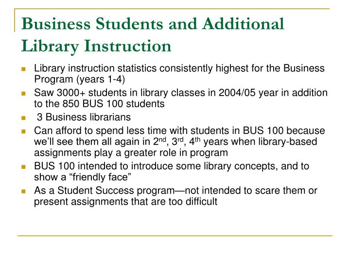 Business Students and Additional Library Instruction