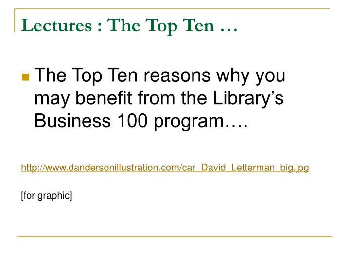 Lectures : The Top Ten …