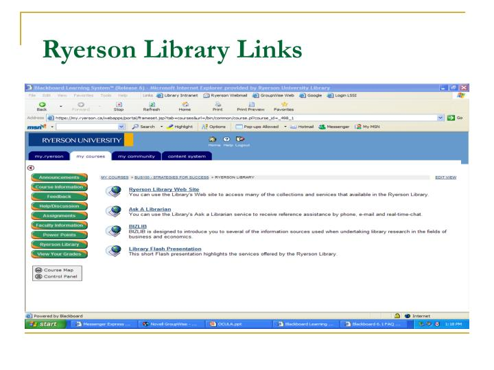 Ryerson Library Links