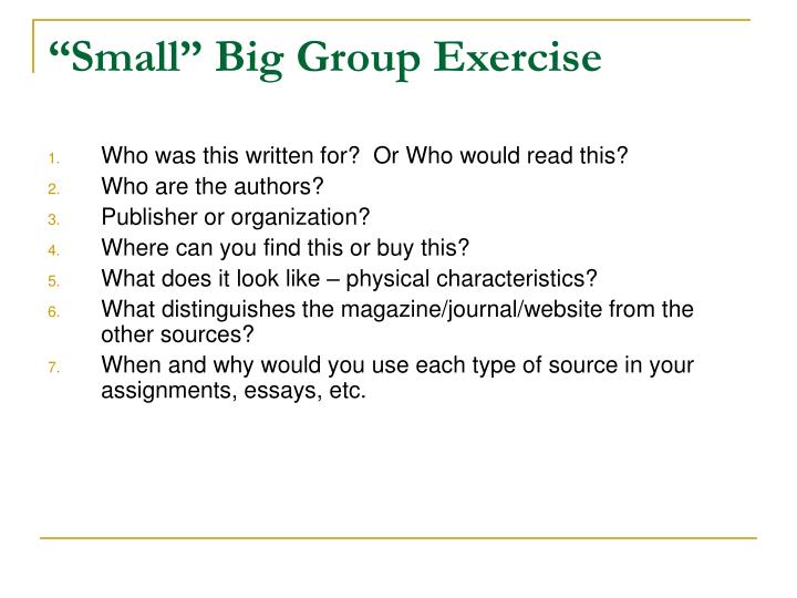 """Small"" Big Group Exercise"