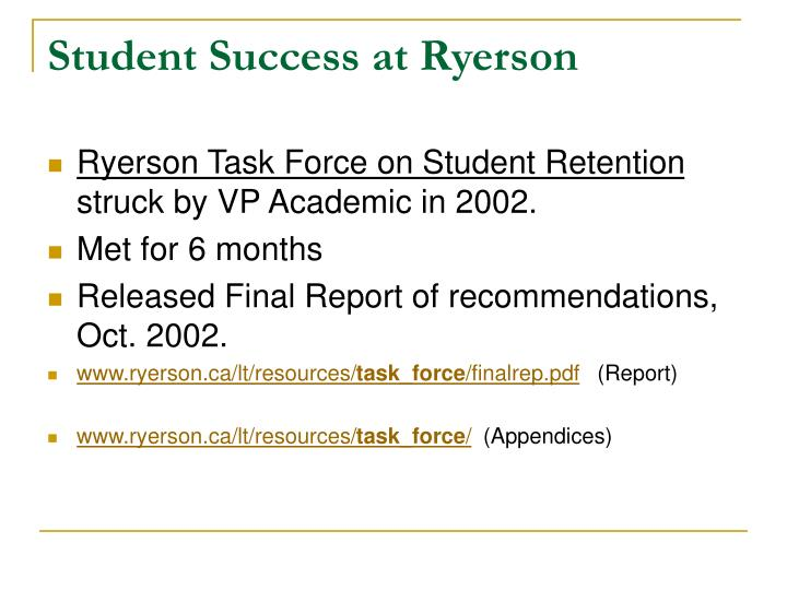Student Success at Ryerson