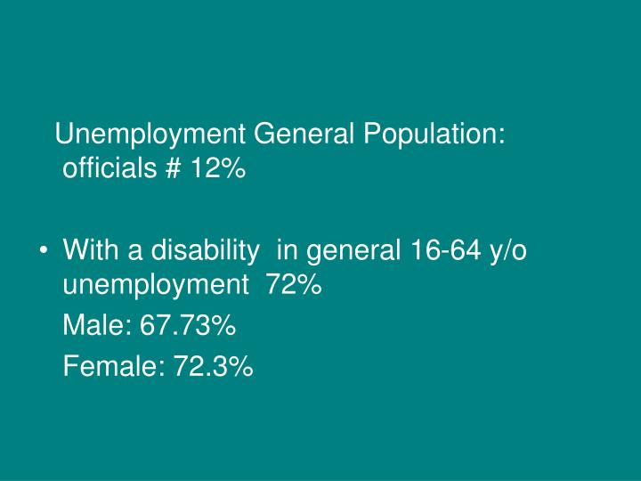 Unemployment General Population: officials # 12%