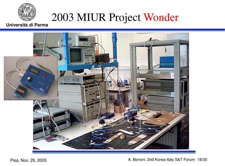 2003 MIUR Project