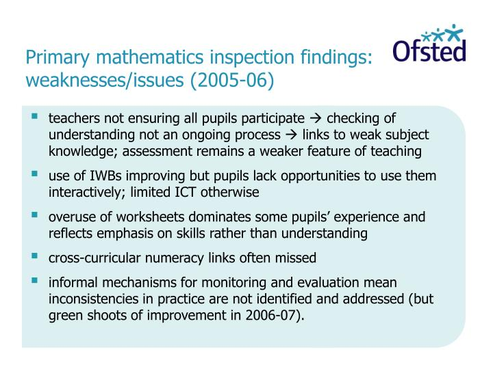 Primary mathematics inspection findings: weaknesses/issues (2005-06)