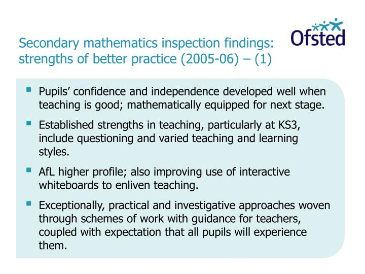 Secondary mathematics inspection findings: strengths of better practice (2005-06) – (1)