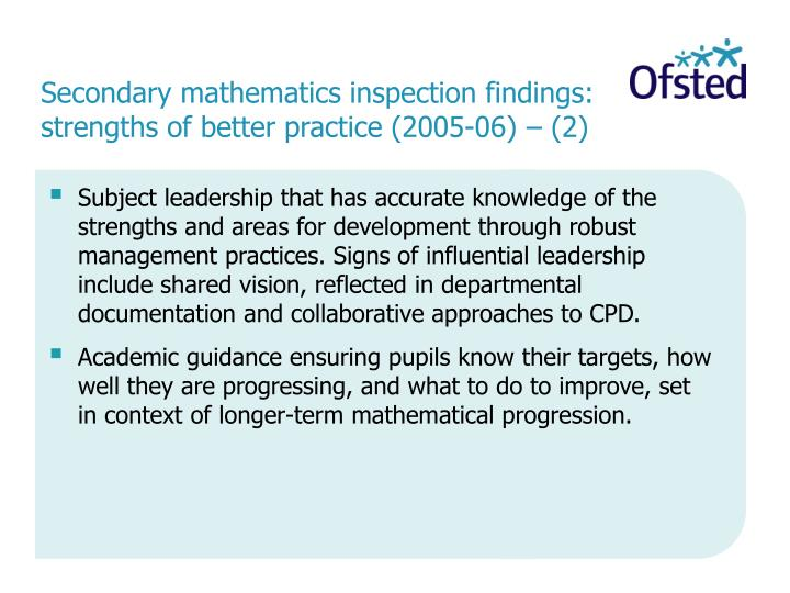 Secondary mathematics inspection findings: strengths of better practice (2005-06) – (2)
