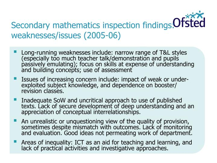 Secondary mathematics inspection findings: weaknesses/issues (2005-06)