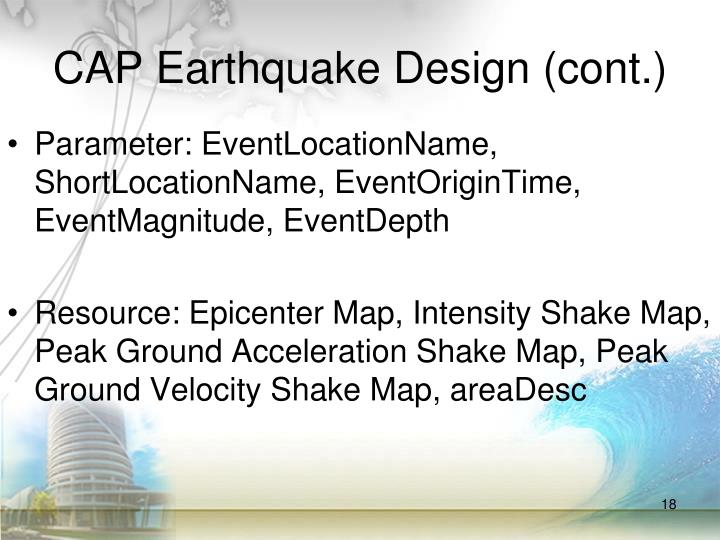 CAP Earthquake Design (cont.)