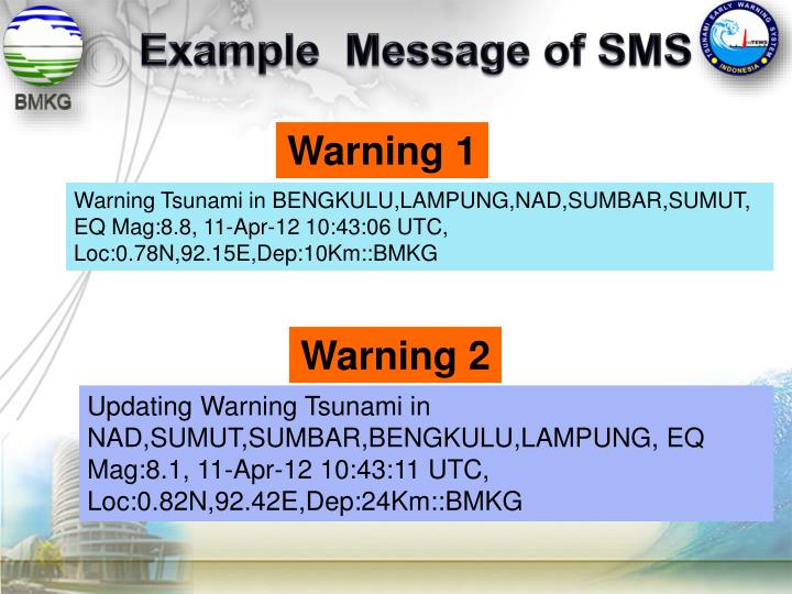 Example  Message of SMS